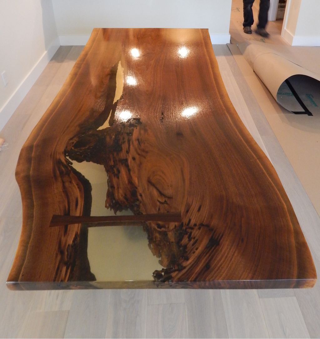 American Walnut Resin Live Edge Table Holly Waight Designs